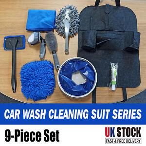 9 Pcs Professional Car Cleaning Washing Tool Kits Towel Brush Bucket Set UKSTOCK