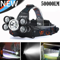 50000LM 5Head XM-L T6 LED 18650 Headlamp Headlight Flashlight Torch Lamp