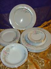 Jamestown China Porcelain Pastel White Flower Floral Pattern Set Of 13 Pieces