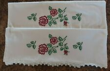 """Set of Vintage Embroidered Crocheted Pillow Cases Pink Flowers 21 1/2""""x 30 1/4"""""""