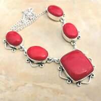 "Handmade Red Coral Jasper Gemstone 925 Sterling Silver Necklace 15"" #N01770"