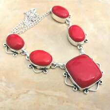 "Handmade Red Coral Jasper Gemstone 925 Sterling Silver Necklace 15"" #N01770"