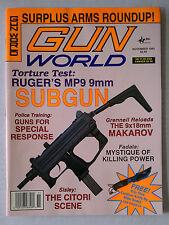 GUN WORLD FIRE ARMS AMMO WEAPONS RIFLES MAGAZINE 9MM .45 1993 NOVEMBER MP9 SUB