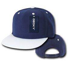 Navy Blue & White Plain Solid Flat Bill Snapback Vintage Retro Baseball Cap Hat