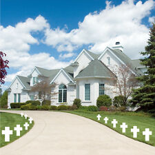 2' White Corrugated Plastic Lawn Cross- Set of 12 w/ Short  00004000 Stakes - Memorial Day
