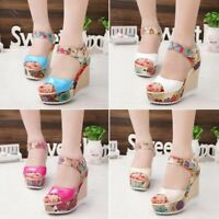 Women Platform Floral Wedge High Heel Peep Toe Ankle Buckle Sandals Casual Shoes