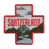 Switzerland Iron On Travel Patch -Swiss cross and mountains