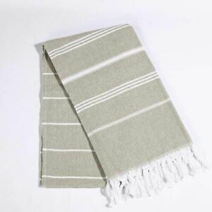 Striped Cotton Turkish Sports Bath Towel with Tassels Travel Gym Camping Bath