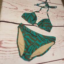 Victoria's Secret Bikini Swim Top 34A Bottom Small Green Brown Animal Print