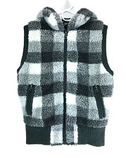 Sweater Project Vest with Hood, Gray & White Plaid Women's Size Medium