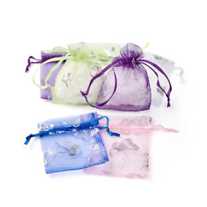 100pcs Butterfly Pattern Drawstring Organza Bags Party Gift Pouches Cute 90x70mm