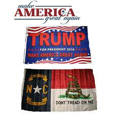 3x5 Trump Make America Great Again! North Carolina Gadsden Flag Set 3'x5'