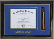 DIPLOMA FRAME WITH TASSEL BLACKBLUE (CUSTOMIZABLE) 8 WIDE x 6 HIGH SIZE