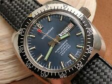 Vintage Wakmann Day-Date Divers Watch w/Blue Dial,Screwdown Crown,All SS Case