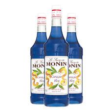 Monin Sirup Blue Curaçao Blau, 1,0L, 3er Pack
