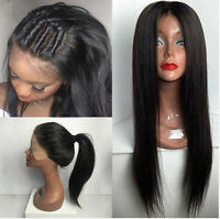 Jet Black  Human Hair 150% density Lace Front Wigs Full Lace Wigs Silky Straight