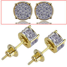 Cz Micropave Earring Stud Round Hip Hop 2Pcs Men's Male's Gold Plated Two Tone