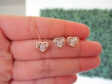 .06 CTW Dancing Diamond Heart Earrings&Necklace Set Twotone Gold DDS02 sep