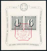 SCHWEIZ 1943, Block 8, mit rotem Sonderstempel, Mi. 60,-