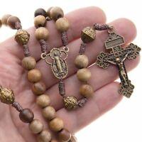 "Large Catholic Wood Rosary Beads 18"" Necklace Strong Cord Men Women Pardon Cross"