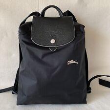 Free Post Longchamp Le Pliage CLUB BLACK Nylon Backpack Adjustable Straps