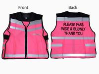 Equisafety Hi Viz Reflective Waistcoat Tabard - Pink - Please Pass Wide & Slowly