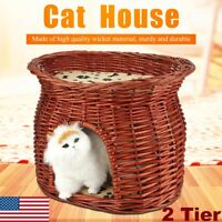 Handmade Wicker Basket Cat Bed Cave Dog Puppy House Pet Rattan Willow Furniture