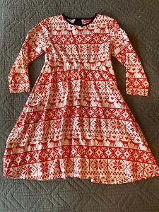 Oh Baby London Fairisle/Scandi Print / Christmas Dress Age 8-9 Red White