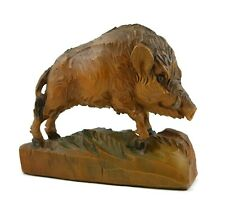 German Vintage Black Forest Large Wild Boar Wood Carving very detailed