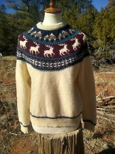 Vintage WOOLRICH Reindeer Winter Pullover Wool Sweater, Sz MEDIUM, Nordic