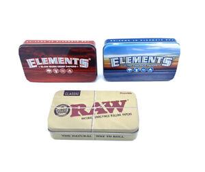 RAW-& Elements  Rolling-Printed-Tobacco-GENUINE Tobacco Tin Storage Box Set Of 3
