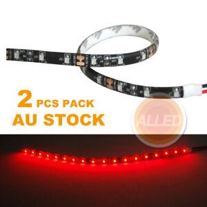 2X12V Red Waterproof Car Lamp 30cm LED DIY Flexible Interior/Exterior StripLight