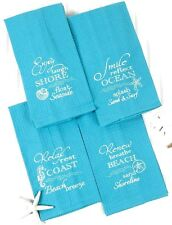 Coastal Collection Set of 4  Kitchen Tea Dish Towel Kay Dee Nautical Beach Decor