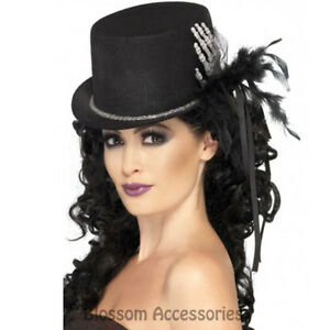 A642 Ladies Black Skeleton Top Hat Halloween Feathers Ribbon Costume Accessory