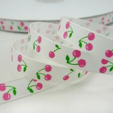 "3/8"" 9mm White Cherry Printed Grosgrain Ribbon Craft Sewing Packing 5 Yards"