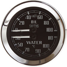 Smiths Mechanical Water Temp/Oil PressureGauge 52mm, Black face, Chrome Bezel