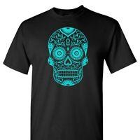 Sugar Skull in Teal on a Black T Shirt
