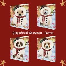 Christmas Gingerbread Snowman Dog Cat Pet Photo Canvas Wall Art Home Decor