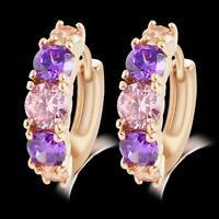 Fashion Ear Stud 18K Gold Filled Earrings Sparkle Sapphire Crystal