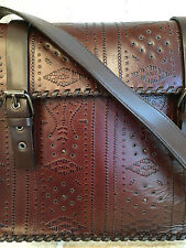 GORGEOUS FRANCESCO BIASIA BROWN TOOLED EMBOSSED LEATHER PURSE BAG - PRISTINE!!!