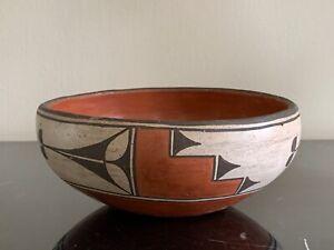Vintage Vicentita Pino Zia Pueblo New Mexico Polychrome Pottery Bowl