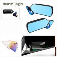 2Pc Rearview Metal Bracket Side F1 Style Carbon Fiber Looking Rear Safety Mirror