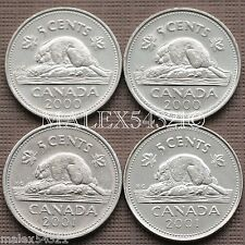 CANADA 2000 2000P 2001 2001P SET OF 5 CENTS (4 COINS) CIRCULATED