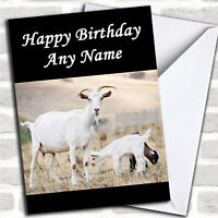 Goat & Baby Personalized Birthday Card