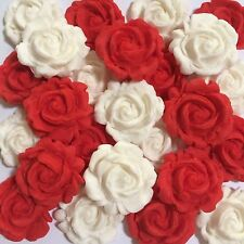 Edible 3D Roses Cake, Cup Cake Decorating Toppers x 10 Red & White