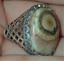 Sterling Silver Ring, Natural Eye Stone, #S1952, Size Adjustable 9+