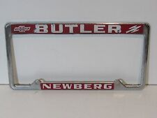 Vintage Newberg Butler Chevrolet Olds License Plate Frame Metal Embossed Holder