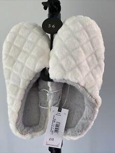 Debenhams-White Faux Fur Trim Textured Mule Slippers size 5-6