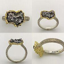 Boho Yellow Gold & Silver Campo Del Cielo Meteorite Ring, UFO