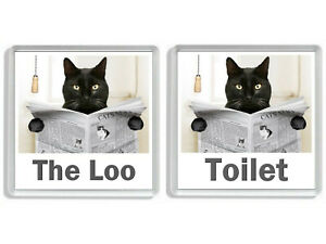 BLACK CAT READING A NEWSPAPER ON THE LOO Novelty Toilet Door Signs